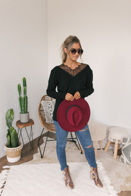 V-Neck Lace Detailed Sweater - Black