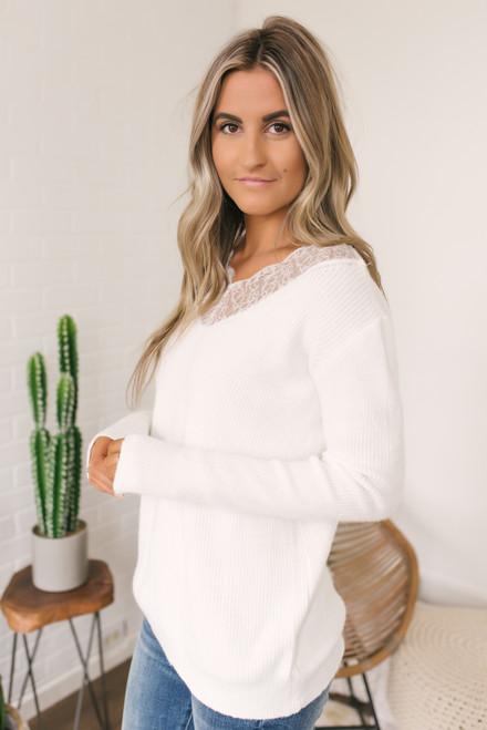 V-Neck Lace Detailed Sweater - Ivory