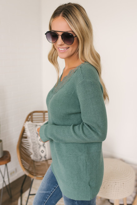 V-Neck Lace Detailed Sweater - Teal Sage  - FINAL SALE