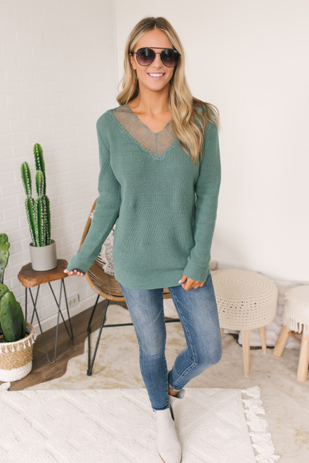V-Neck Lace Detailed Sweater - Teal Sage
