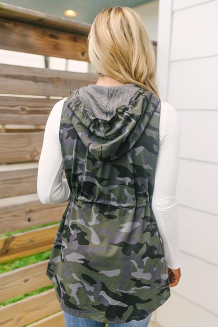 Hooded Drawstring Camo Vest - Olive Multi