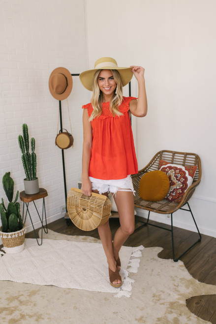 High Neck Crochet Detail Linen Top - Coral Red - FINAL SALE