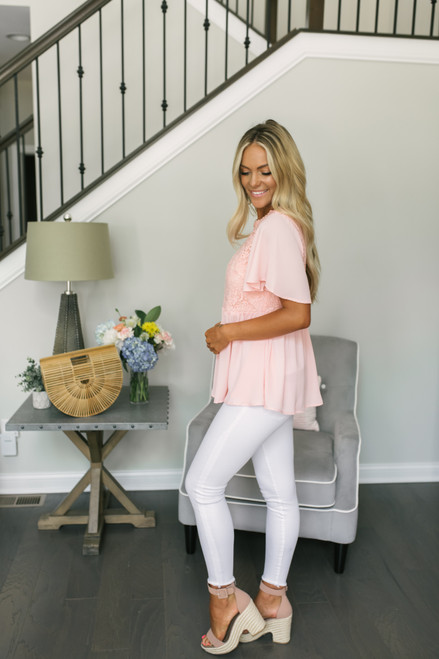 Crochet Detail Peplum Chiffon Top - Blush Peach - FINAL SALE