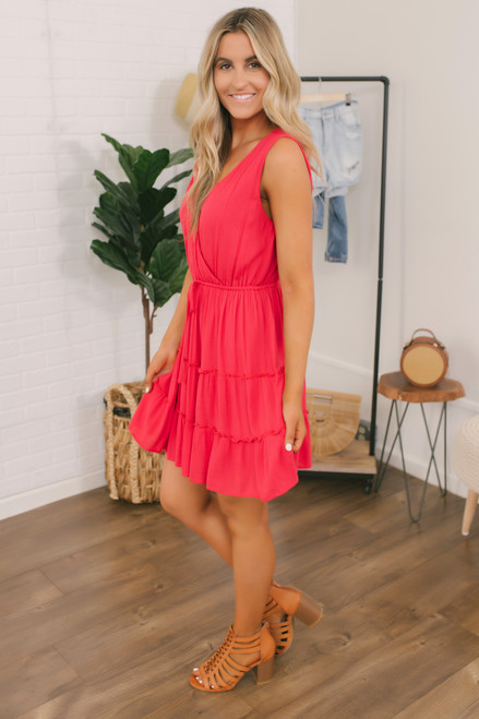 Sparks Flying Tiered Dress - Berry Red