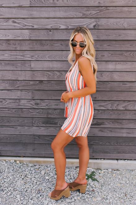 Button Down Tie Waist Striped Romper - Orange Multi  - FINAL SALE
