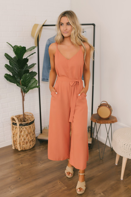 Tie Waist Wide Leg Jumpsuit - Orange Sunset