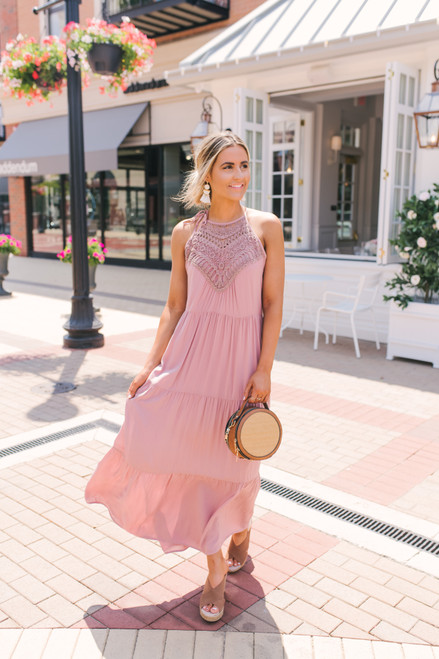 Halter Neck Crochet Detail Tiered Maxi - Dusty Pink  - FINAL SALE