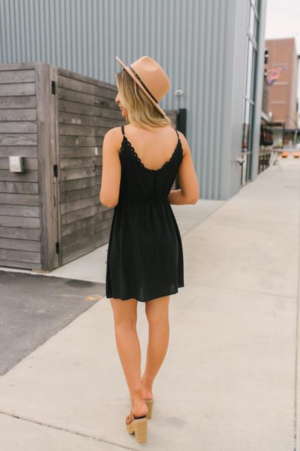 V-Neck Embroidered Babydoll Dress - Black/White  - FINAL SALE