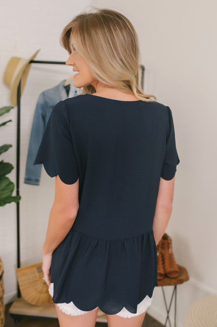 Sounds of Summer Scalloped Top - Navy