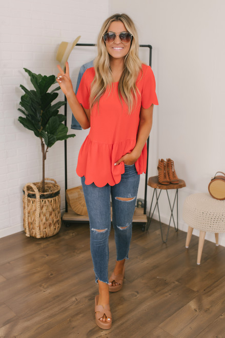 Sounds of Summer Scalloped Top - Red
