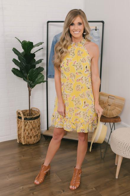 Watercolor Floral Ruffle Halter Dress - Yellow Multi - FINAL SALE