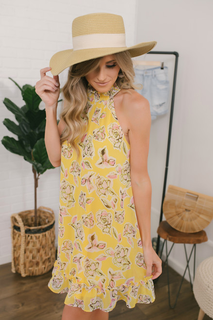 Watercolor Floral Ruffle Halter Dress - Yellow Multi
