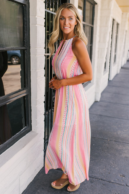 Tropical Wanderlust Printed Maxi - Coral Multi  - FINAL SALE