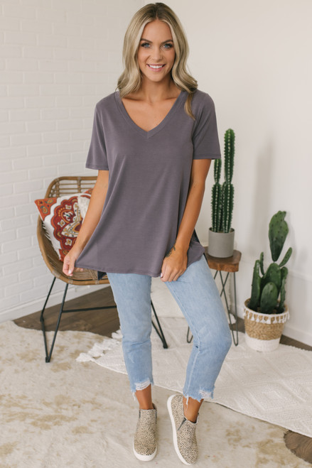 V-Neck High Low Modal Tee - Charcoal