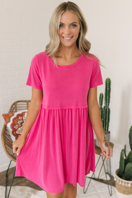 Short Sleeve Babydoll Dress - Fuchsia - FINAL SALE