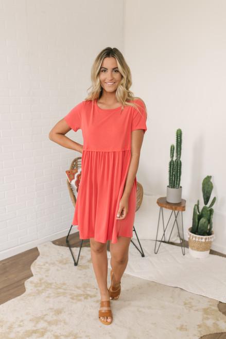 Short Sleeve Babydoll Dress - Poppy