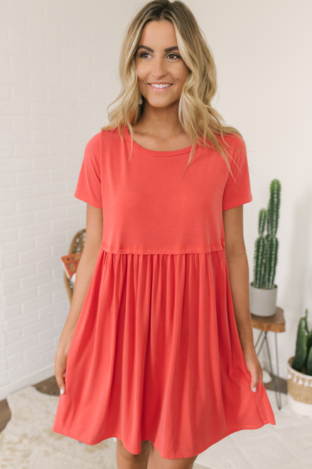 Short Sleeve Babydoll Dress - Poppy - FINAL SALE