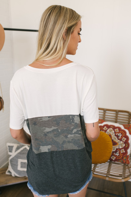 Colorblock Camo Pocket Tee - White/Olive/Charcoal