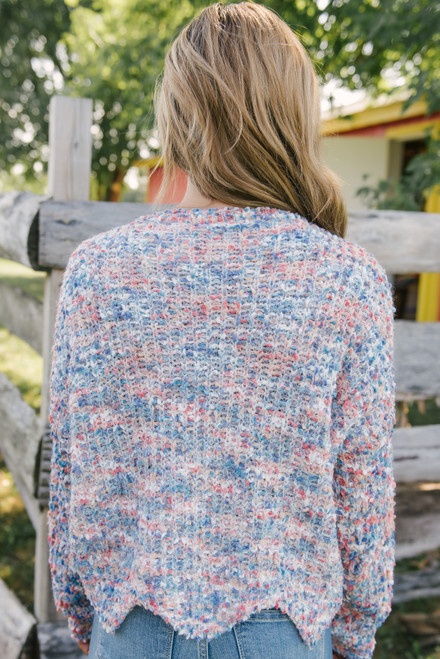 Confetti Scalloped Sweater - Blue Multi