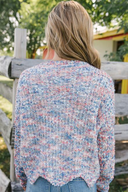 Confetti Scalloped Sweater - Blue Multi - FINAL SALE