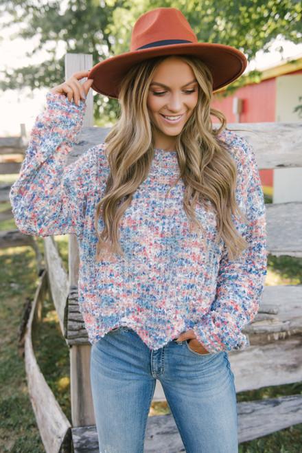 Confetti Scalloped Sweater - Blue Multi