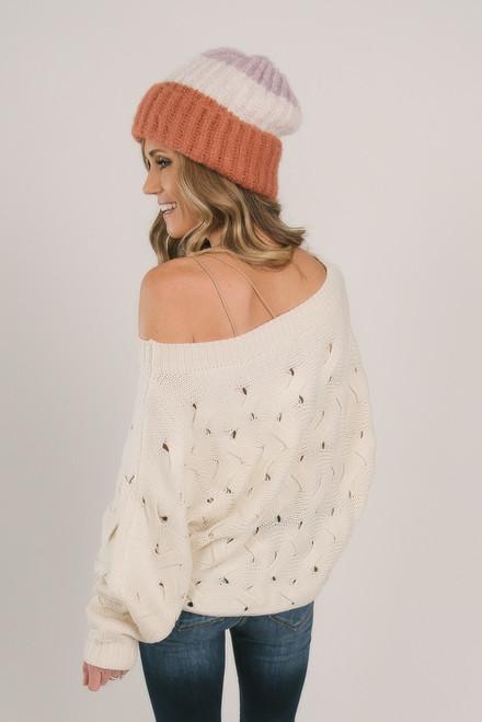 Boatneck Trellis Sweater - Natural