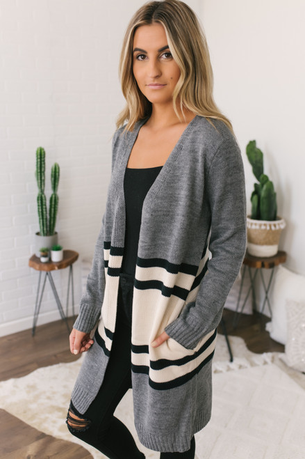 Varsity Striped Pocket Cardigan - Charcoal