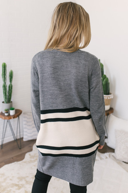Varsity Striped Pocket Cardigan - Charcoal - FINAL SALE