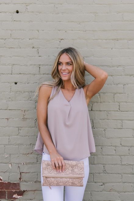 V-Neck Pleated Woven Tank - Light Mocha