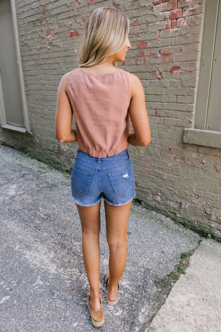 Button Down Knot Crop Tank - Dusted Cinnamon