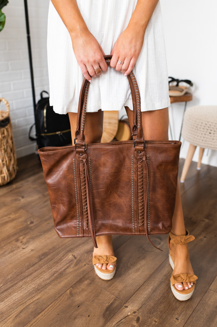 Lace Up Studded Vegan Leather Tote - Brown