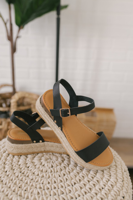 Sweet Escape Studded Espadrille Sandals - Black
