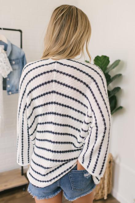 3/4 Kimono Sleeve Striped Cardigan - White/Navy