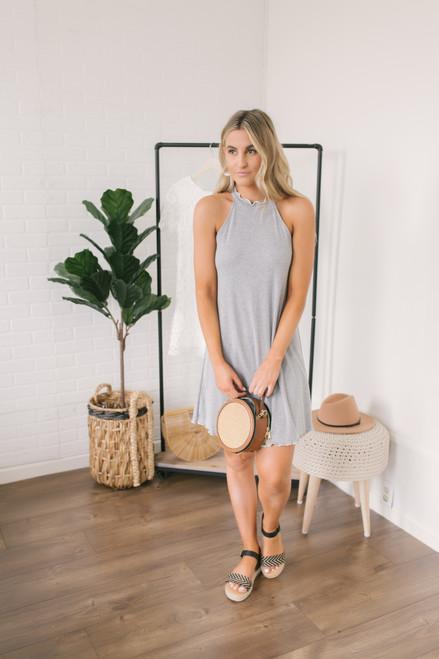Everly Mock Neck Merrow Ribbed Dress - Heather Grey