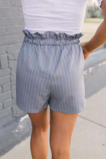 Drawstring Striped Paperbag Shorts - Grey/White