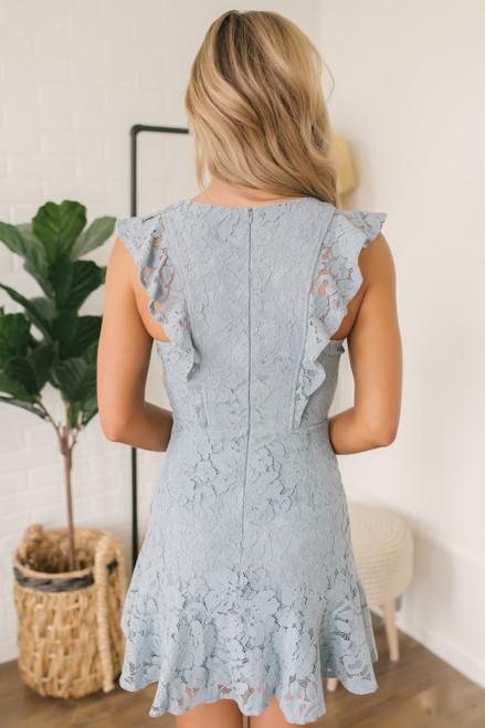 Cap Sleeve Ruffle Detail Lace Dress - Dusty Blue