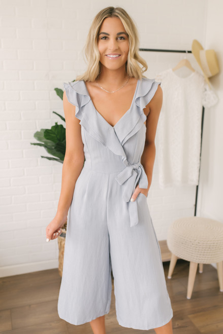 Surplice Ruffle Crop Culotte Jumpsuit - Dusty Blue - FINAL SALE