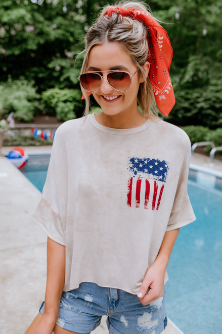 American Flag Tie Dye Terry Tee - Taupe
