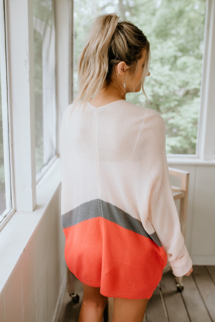 Dolman Colorblock Waffle Cardigan - Vanilla/Charcoal/Orange