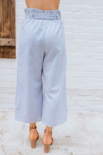 Everly Striped Paperbag Cropped Pants - Navy/White - FINAL SALE