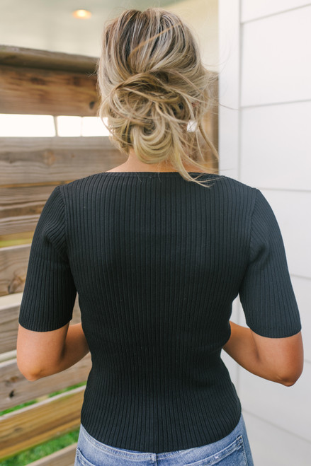 V-Neck Button Detail Ribbed Top - Black  - FINAL SALE