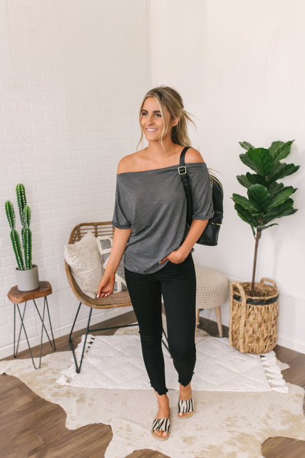 Off the Shoulder Cuffed Sleeve Top - Charcoal