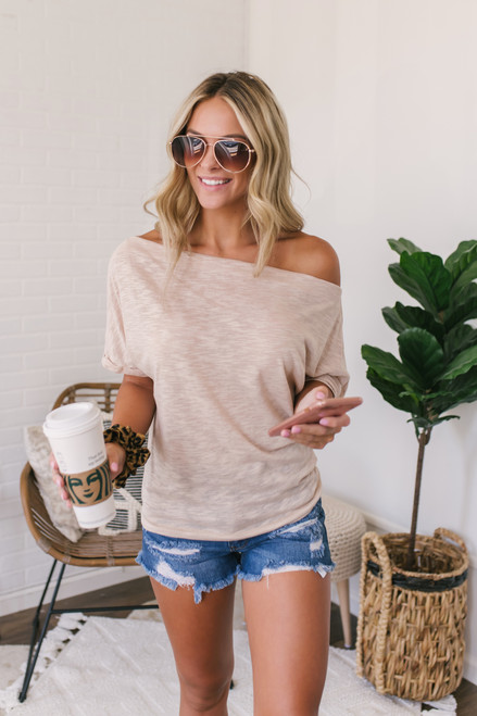Off the Shoulder Cuffed Sleeve Top - Beige - FINAL SALE