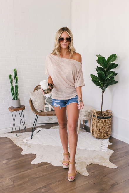 Off the Shoulder Cuffed Sleeve Top - Beige
