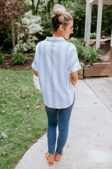 Sadie & Sage Sea Stripe Top - White/Blue