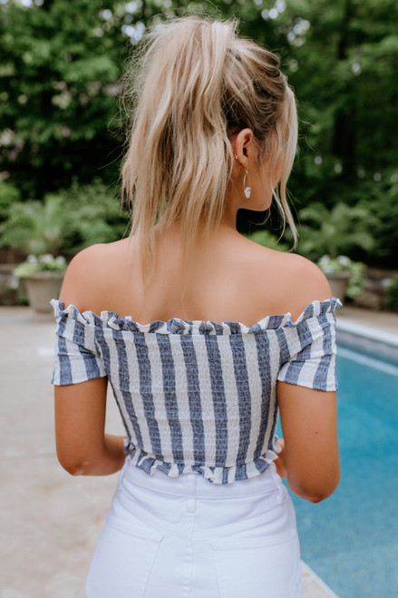Off the Shoulder Smocked Crop Top - Navy/White