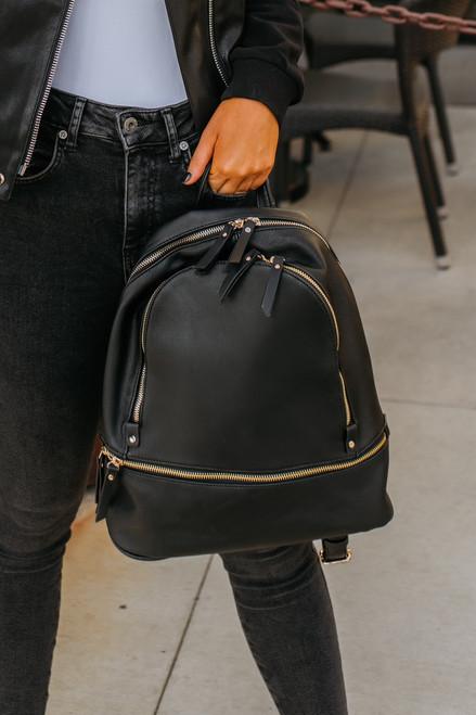 Bay Area Tripe Vegan Leather Backpack - Black