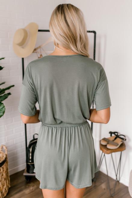 Short Sleeve Drawstring Romper - Sage