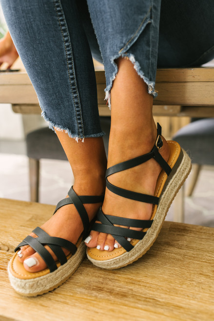 Isle of Palms Strappy Espadrille Sandals - Black