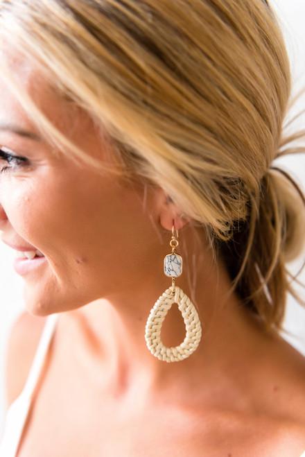 Marble Detail Straw Braid Earrings - Ivory/White